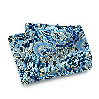 Light blue & oat yellow paisley pattern pocket square