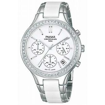 Pulsar Womens' White Ceramic & Stainless Steel Crystal-Set Chrono PT3305X1 Watch