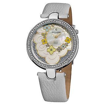 Akribos XXIV Women's Snake-Patterned Leather White Strap Flower Dial Watch AK601WT