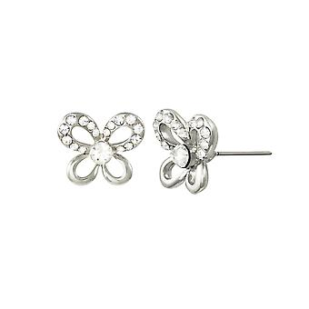 Eternal Collection Fauna Clear Crystal Silver Tone Stud Pierced Earrings