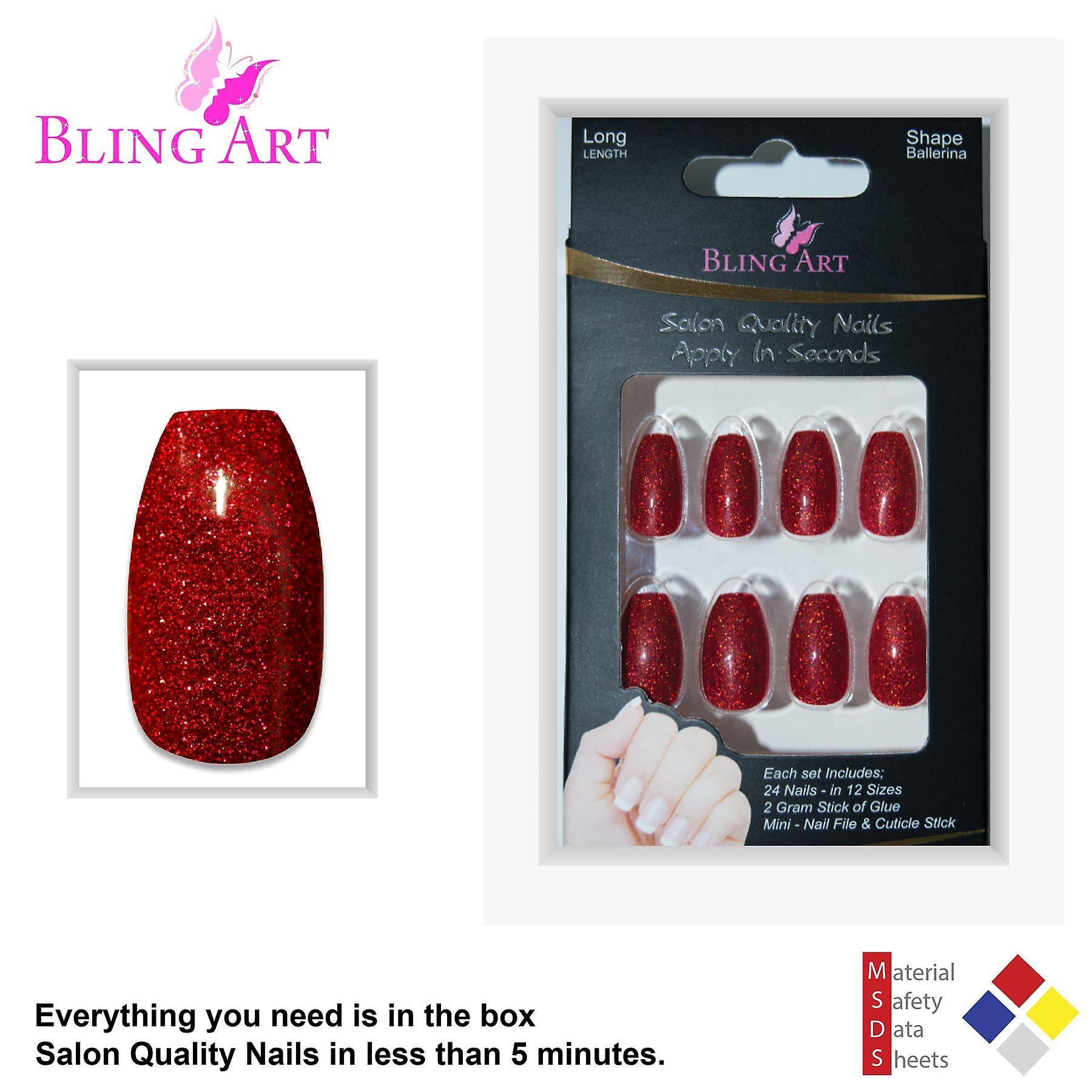 False nails by bling art red gel ballerina coffin 24 fake long acrylic nail tips