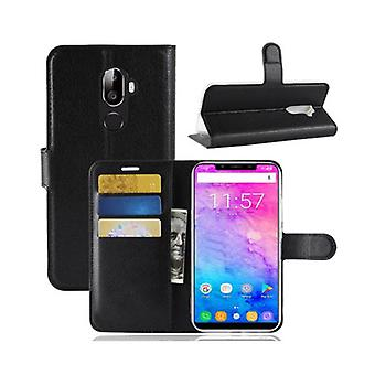 Litchi flip wallet card slots bracket pu leather protective case for oukitel u18