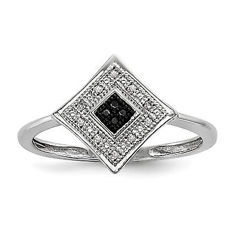 925 Sterling Silver Polished Gift Boxed Rhodium-plated Black and White Diamond Ring - Ring Size: 6 to 8