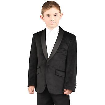 Dobell Boys Black Jacket Regular Fit Velvet Shawl Lapel