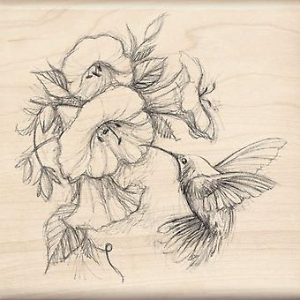 Inkadinkado Wood Mounted Rubber Stamp Q Hummingbird With Flowers Stampq 97077