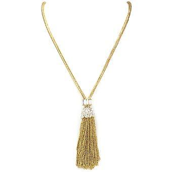 Butler & Wilson Swarovski Crystal guldkedja tofs hängande halsband
