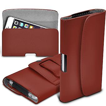 ONX3 (Brown) BlackBerry DTEK50 / BlackBerry Neon Case High Quality Faux Leather Horizontal Executive Pouch Holster Belt Clip Cover Case