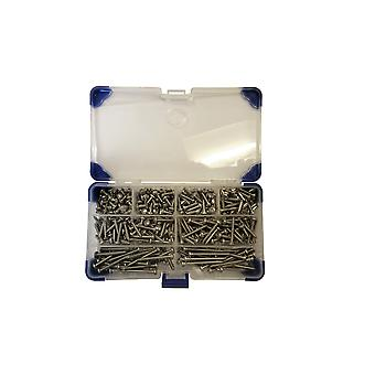 270 Piece No 8 (4.2mm) Stainless Steel Pozi Pan Head Self Tapping Screws Assorted Lengths