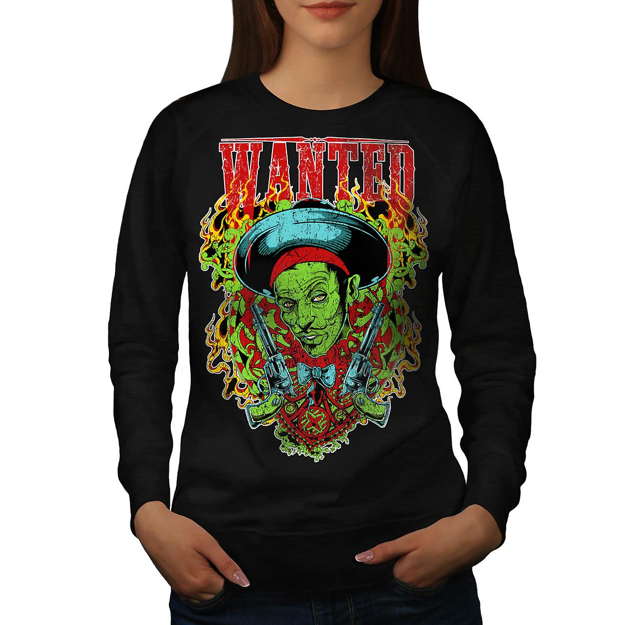 Wanted Dead Or Alive Crime Gun Women Black Sweatshirt | Wellcoda