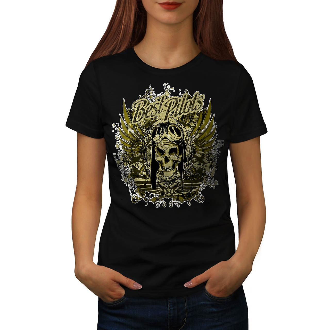 Best Pilot War Cool Skull Women Black T-shirt | Wellcoda