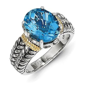 Sterling Silver Polished Prong set Antique finish With 14k 4.80Swiss Blue Topaz Ring - Ring Size: 6 to 8