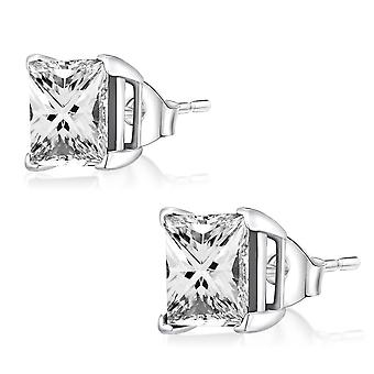 Ear Studs Earrings 925 Sterling Silver, Square White Stones, Jewellery | 3-8 mm