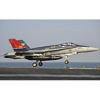 Persian Gulf October 30 2011 - A FA-18C Hornet takes off from the flight deck of USS George HW Bush Poster Print