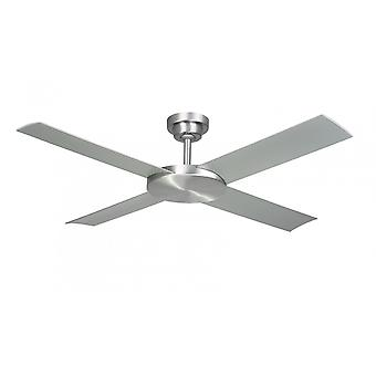 Outdoor Ceiling Fan Revolution brushed aluminium with remote control 132 cm / 52