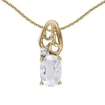 10k Yellow Gold Oval White Topaz And Diamond Pendant with 16