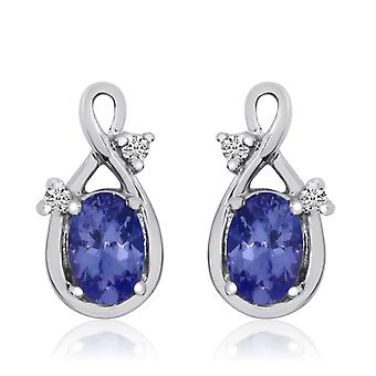 14k White Gold Swirl Tanzanite and Diamond Earrings