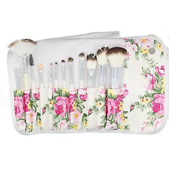 Body Collection Vintage Bouquet 12 Piece Brush Set With Floral Roll