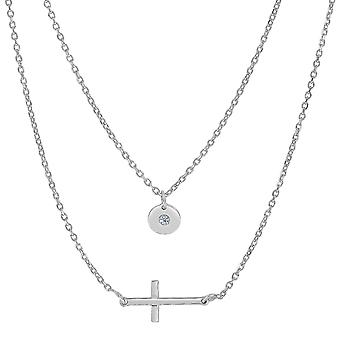 Sterling Silver Sideways Cross And CZ Charm Fashion Necklace, 18