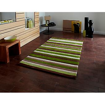Stylish Modern Phoenix Green Striped Lounge Rug 2022 - 5 Sizes Available