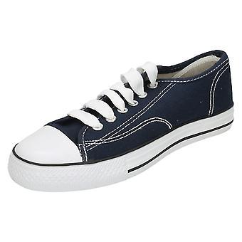 Childrens Spot On Canvas Lace Shoes X0001