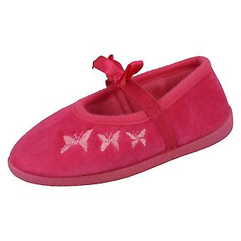 Infant / Child Spot On Flat Bow Bar Slipper / Butterfly Stitching
