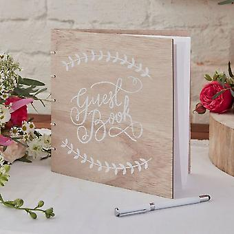 Wooden Guest Book - Boho r
