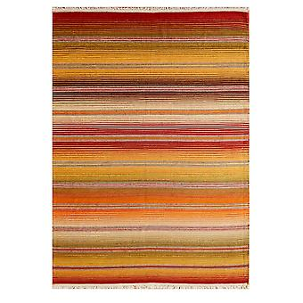 Modern Terracotta Orange Rugs Striped Wool Rug - Enza