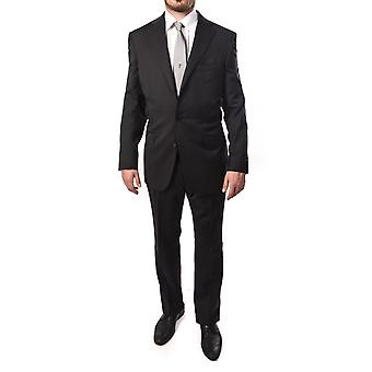Ermenegildo Zegna Men Pinstripe Two-Piece Wool Suit Black