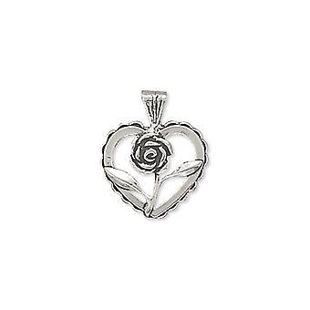 Sterling Silber Herz mit Rose Charme Maßnahmen 15mm Durchmesser