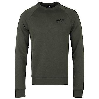 EA7 Classic Green Melange Crew Neck Sweater