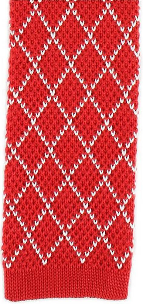 Michelsons of London Diamond Silk Knitted Skinny Tie - Red/White