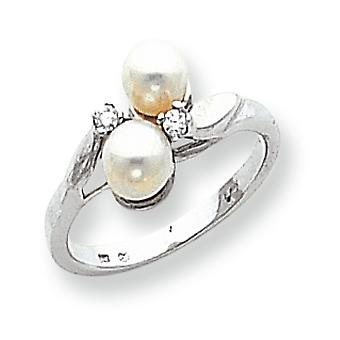 14 k wit goud 5mm vers Water Cultured Pearl Diamond ring -.05 dwt - Size 6