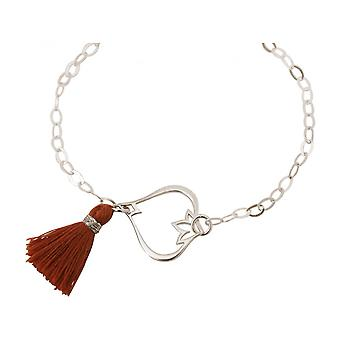 925 Silver - Lotus Flower - tassel - bracelet - red - brown - YOGA