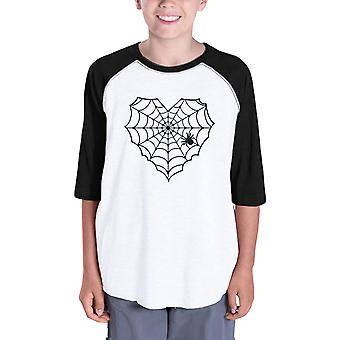 Heart Spider Web Halloween Tshirt Youth Baseball Shirt Black Sleeve