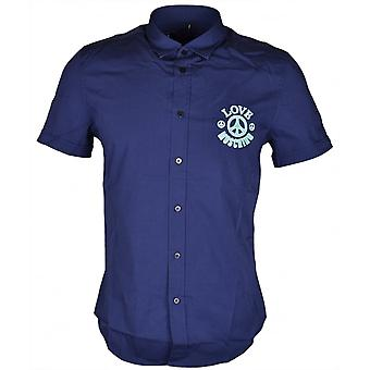 Moschino Embroidered Slim Fit Stretch Short Sleeve Navy Shirt