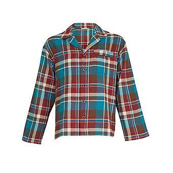 Hombres Cyberjammies 6016 de Claret y Blues Borgoña rojo y azul comprueban algodón pijama Top PJs