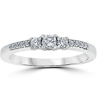 1/3 ct スリース トーン ダイヤモンド婚約指輪 14 K ホワイトゴールド ラウンド
