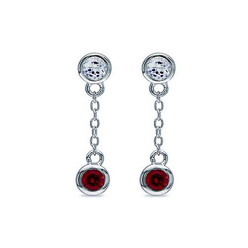 Affici Sterling Silver Short Drop Earrings 18ct White Gold Plated with Ruby & Diamond CZ Gems