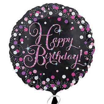 Anagram 18 Inch Pink Happy Birthday Circular Foil Balloon