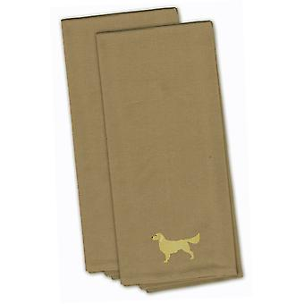 Golden Retriever Tan Embroidered Kitchen Towel Set of 2