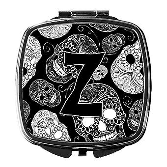 Letter Z Day of the Dead Skulls Black Compact Mirror