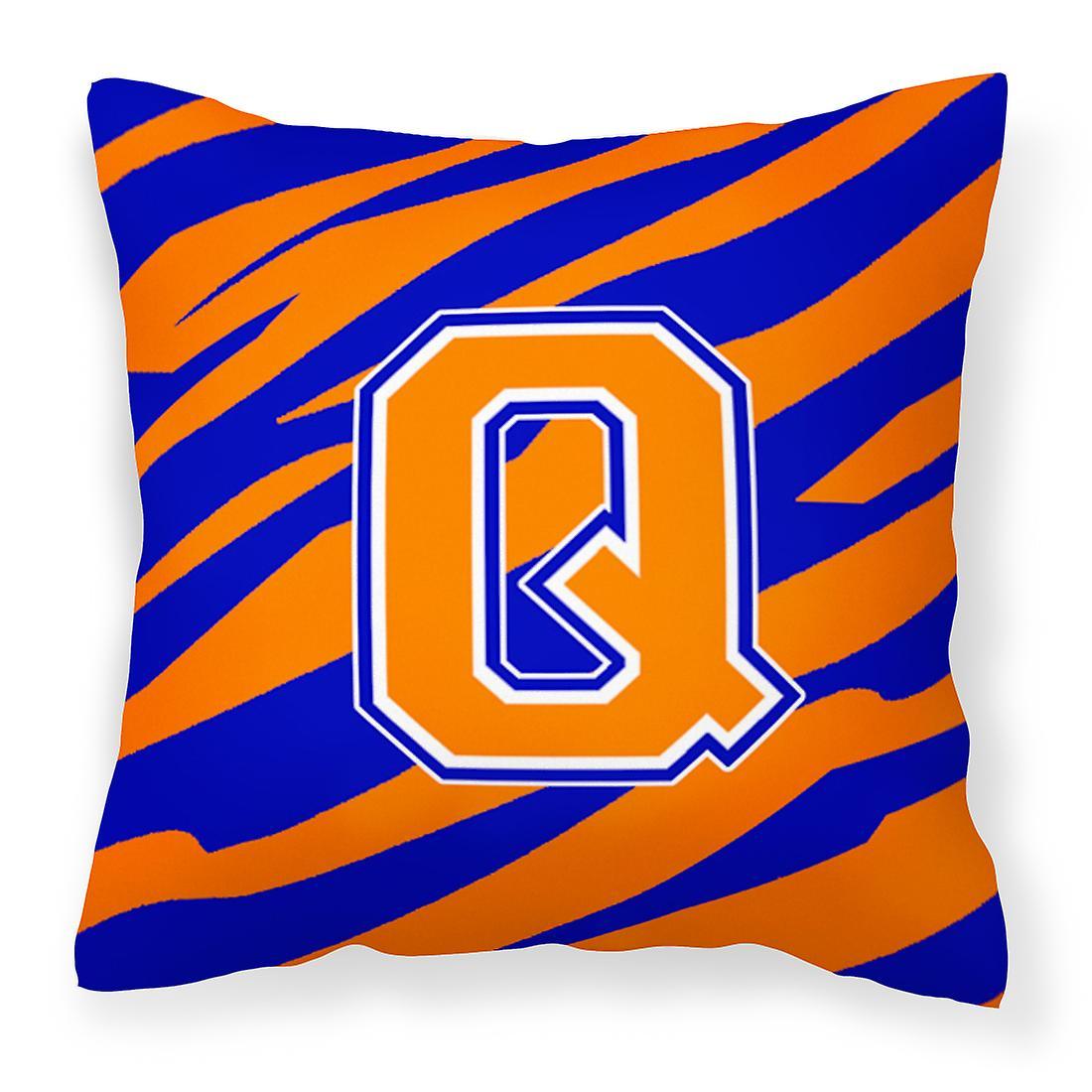 Bleu Monogramme Initiale Décorative Toile Q Tiger StripeOreiller Tissu Orange Rj54AL