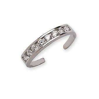 14k White Gold Cubic Zirconia Adjustable Elegant Multistone Body Jewelry Toe Ring