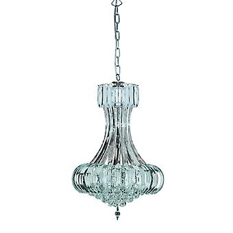 Sigma 6 Light Chrome Ceiling Chandelier With Crystal Decoration  - Searchlight 30021cc