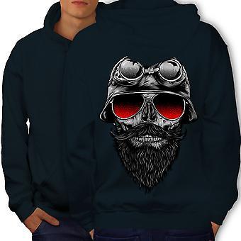 Skull Beard Hippie Men NavyHoodie Back | Wellcoda