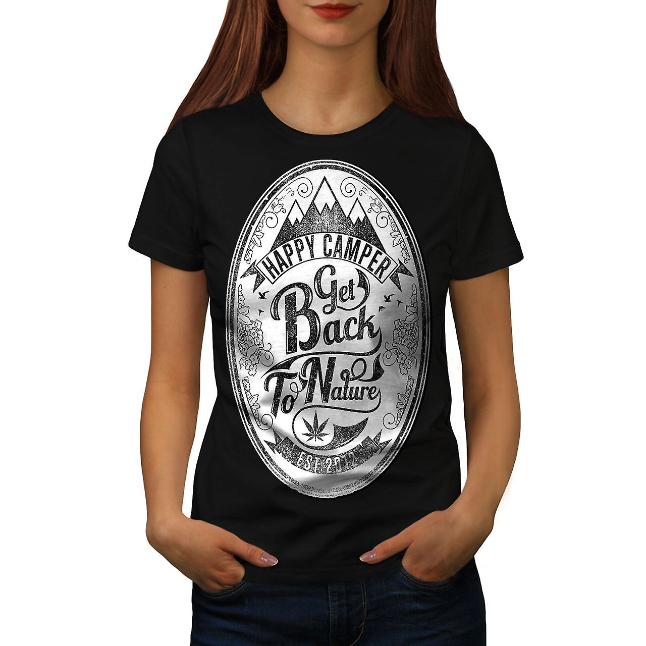 Get Back To Nature Slogan Women Black T-shirt | Wellcoda