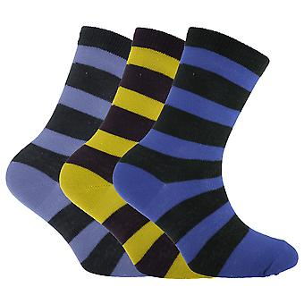 Childrens/Boys Striped Design Socks (Pack Of 3)