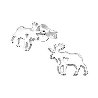 Moose - 925 Sterling Silver Plain Ear Studs