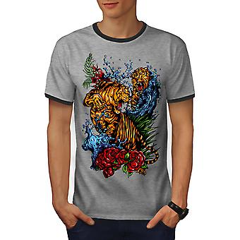 Wild Tiger Men Heather Grey / Heather Dark GreyRinger T-shirt | Wellcoda