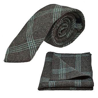 Slate Grey & Blue Birdseye Check Tie & Pocket Square Set